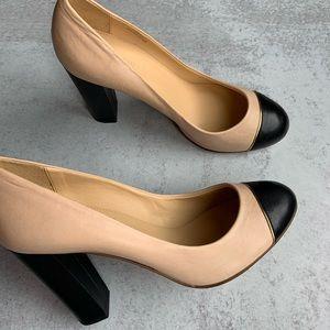 JCrew Leather Nude & Black Block Heels